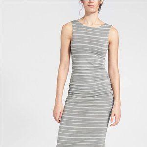 Athleta grey and white striped tank dress shirring
